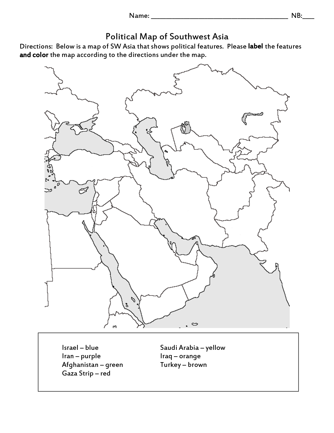 Map Of South West Asia