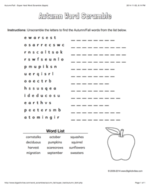 Autumn/fall word scramble with an apple. 4 levels of