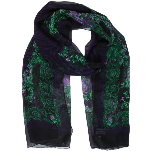 Pre-owned Versace Printed Silk Scarf ($125) ❤ liked on Polyvore featuring accessories and scarves