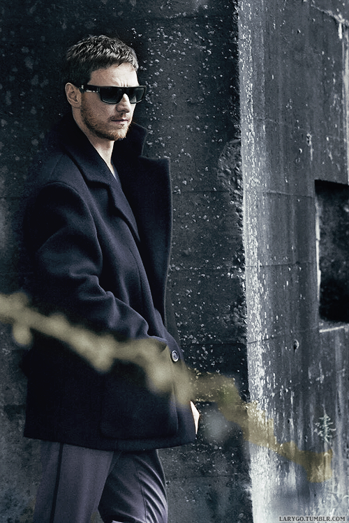 James McAvoy posing for Annie Leibovitz in behind the scenes shot from new PRADA FW14