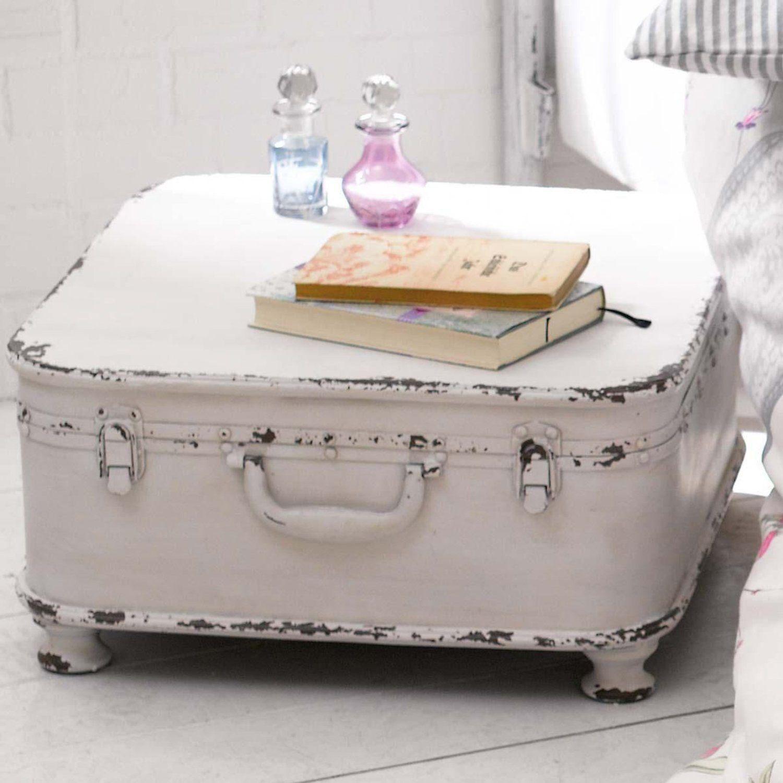 Beistelltisch koffer design shabby chic metall wei for Tisch koffer design