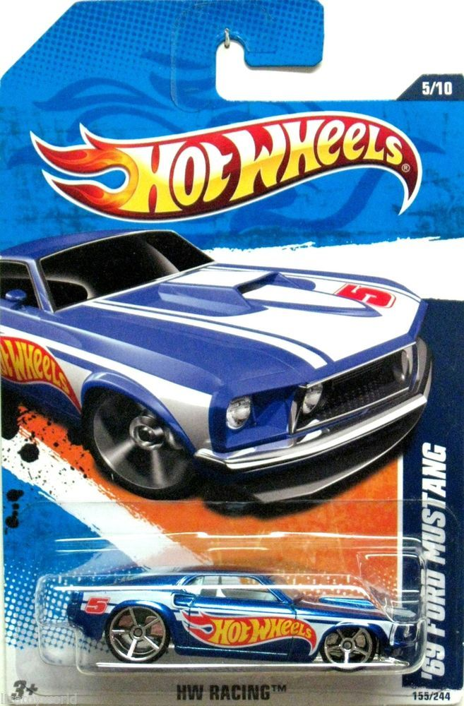 1969 Ford Mustang 2010 Hot Wheels Racing 5 10 Blue Version Mint