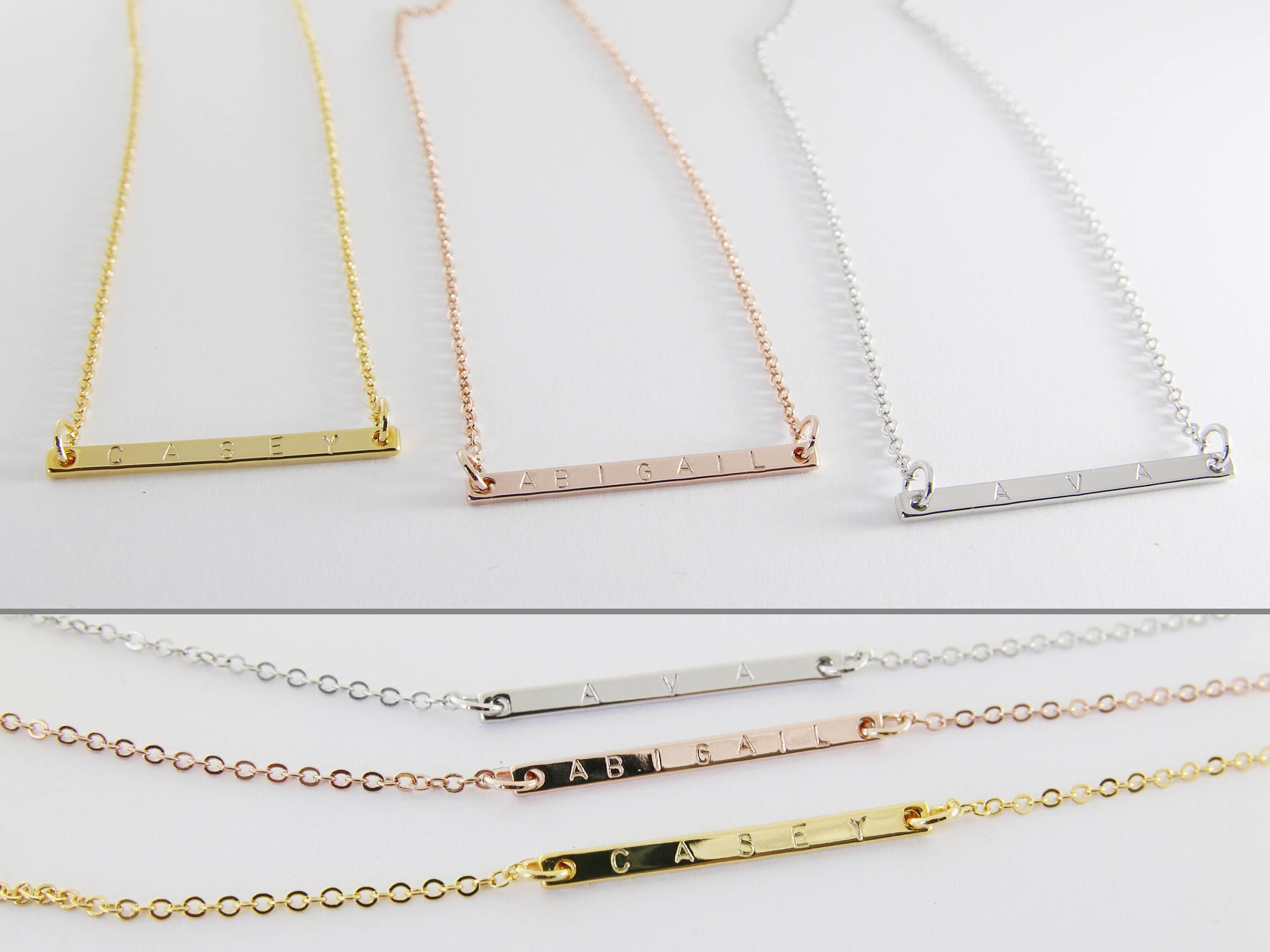 Personalized Bar Necklace. Simple and minimal hand stamped name bar Necklace. This delicate necklace can be customized with names, initials, dates, coordinates or roman numerals. Looks lovely layered with other pieces, or it alone!