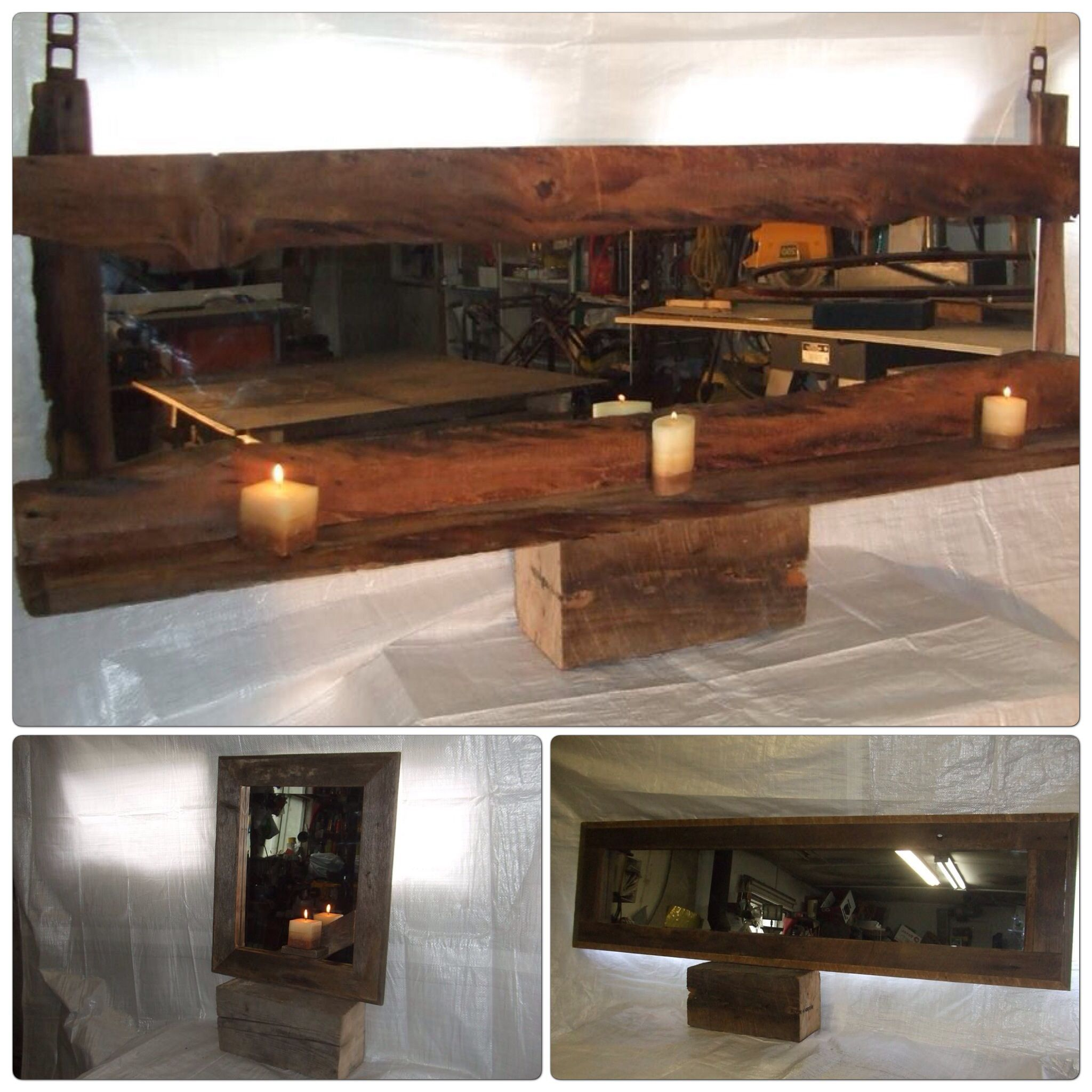 miroir unique tablette pour chandelle ou autre deco bois. Black Bedroom Furniture Sets. Home Design Ideas