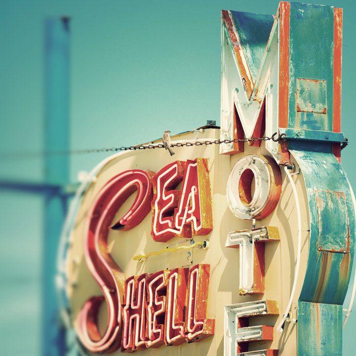 Mid Century Decor Mid Century Modern Retro Home Decor Vintage Motel Sign Neon Sign Jersey Shore Turquoise Orange Mad Men 1950s