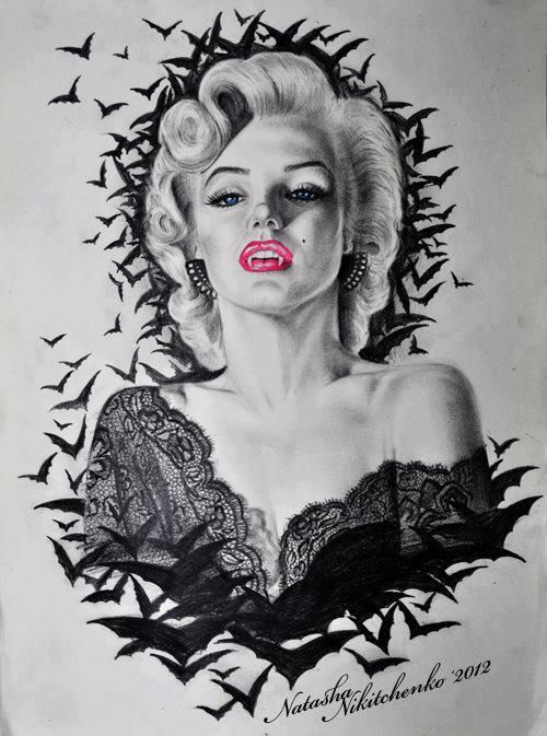 vampire marilyn monroe i 39 m feelin 39 this as a thigh piece tattoo ideas envy pinterest. Black Bedroom Furniture Sets. Home Design Ideas