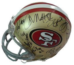 SOLD OUT! 2010 SF 49ers team signed Riddell football mini helmet w/ proof photo.  Proof photo of the 49ers signing will be included with your purchase along with a COA issued from Southwestconnection-Memorabilia, guaranteeing the item to pass authentication services from PSA/DNA or JSA. Free USPS shipping. www.AutographedwithProof.com is your one stop for autographed collectibles from San Francisco sports teams. Check back with us often, as we are always obtaining new items.