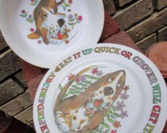 Childs plastic plate and bowl Oneida Deluxe 1972 Vintage melamine Grover the Basset Hound Dog dish & Childs plastic plate and bowl Oneida Deluxe 1972 Vintage melamine ...