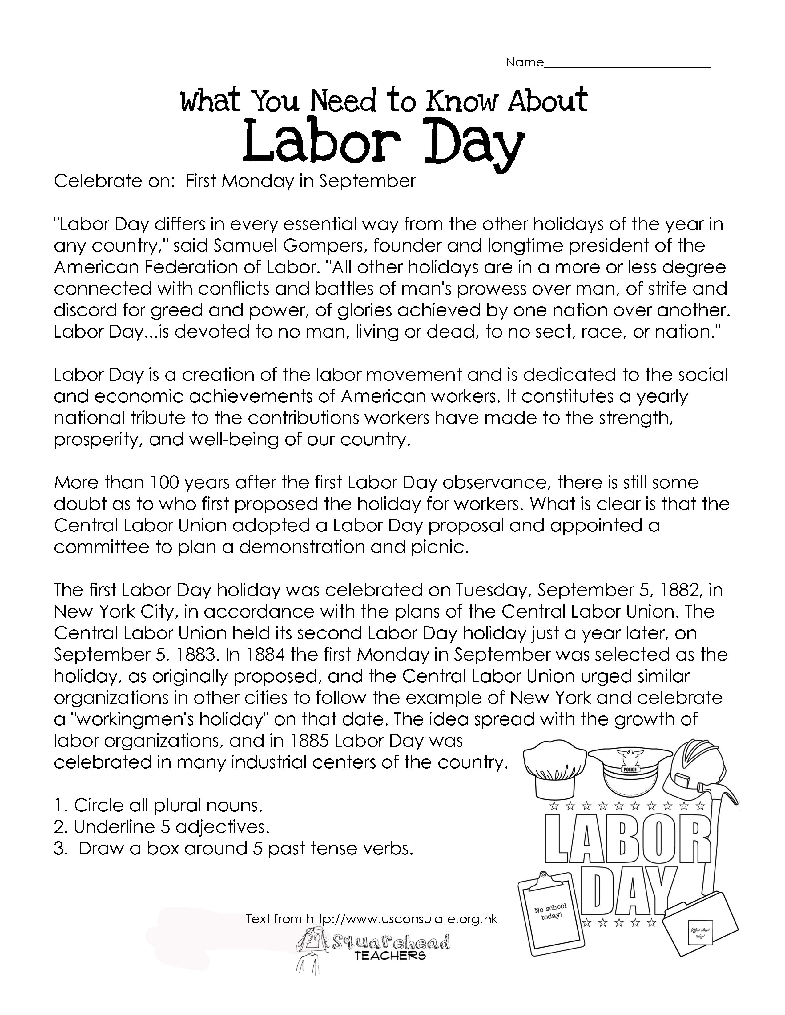 Worksheets Labor Day Worksheets what kids need to know about labor day other than not show up school that including the history of and