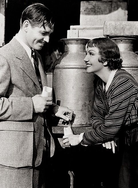 Clark Gable & Claudette Colbert on the set of It Happened One Night, 1934