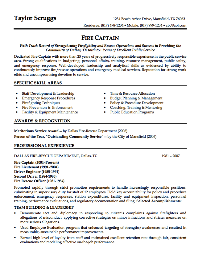 Sample Resume Fire Captain