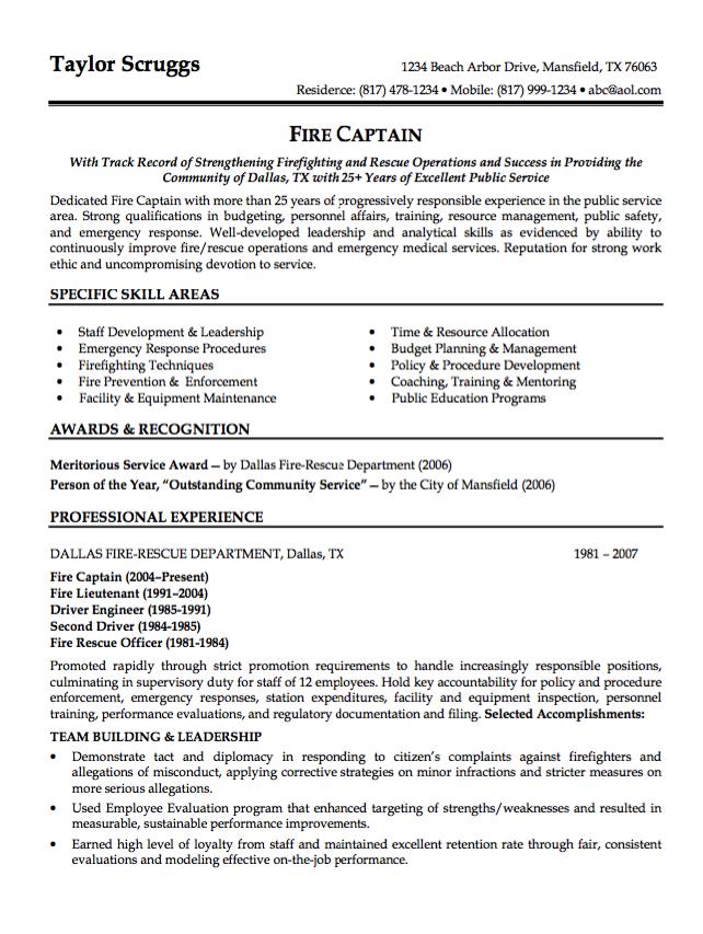 sample resume fire captain httpresumesdesigncomsample resume - Fire Training Officer Sample Resume