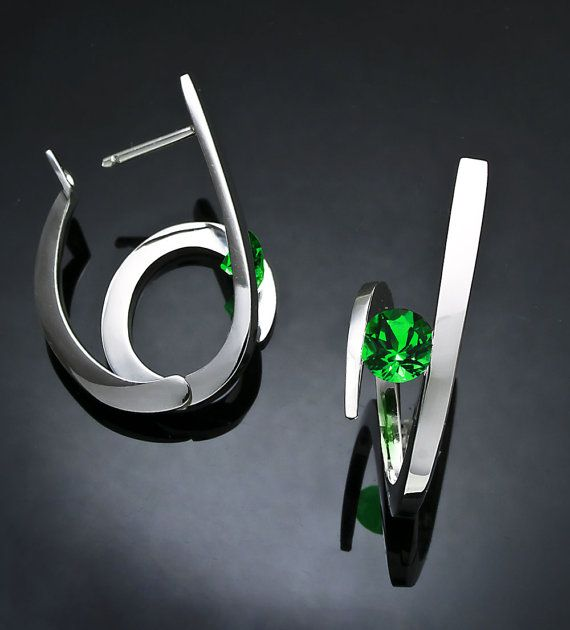 statement earrings green topaz earrings hoop earrings
