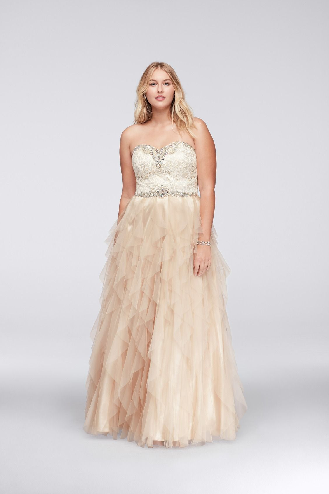 beaded plus size ball gown prom dress with cascading ruffled skirt