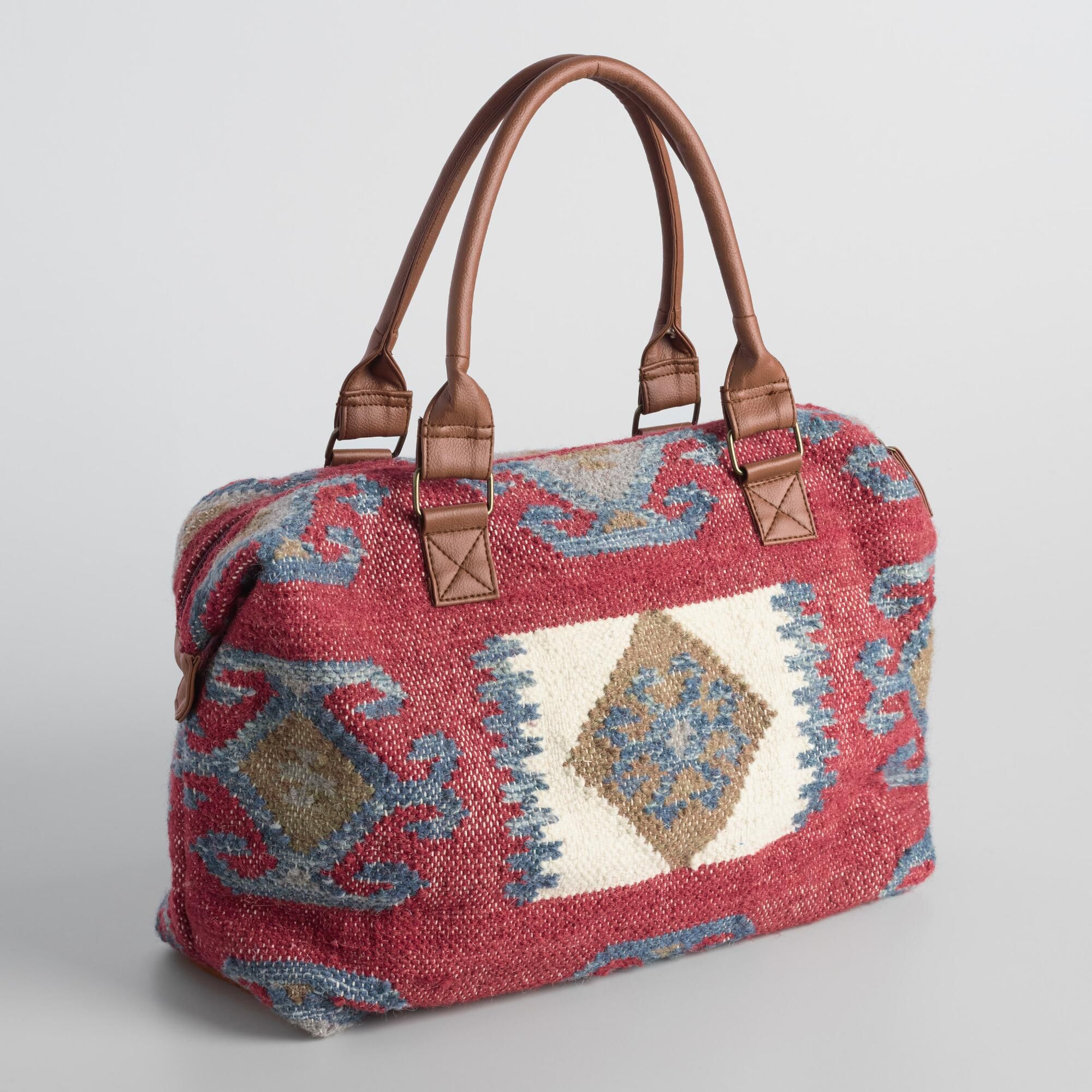 Great whatever your mode of travel, our red wool overnight bag features interior…