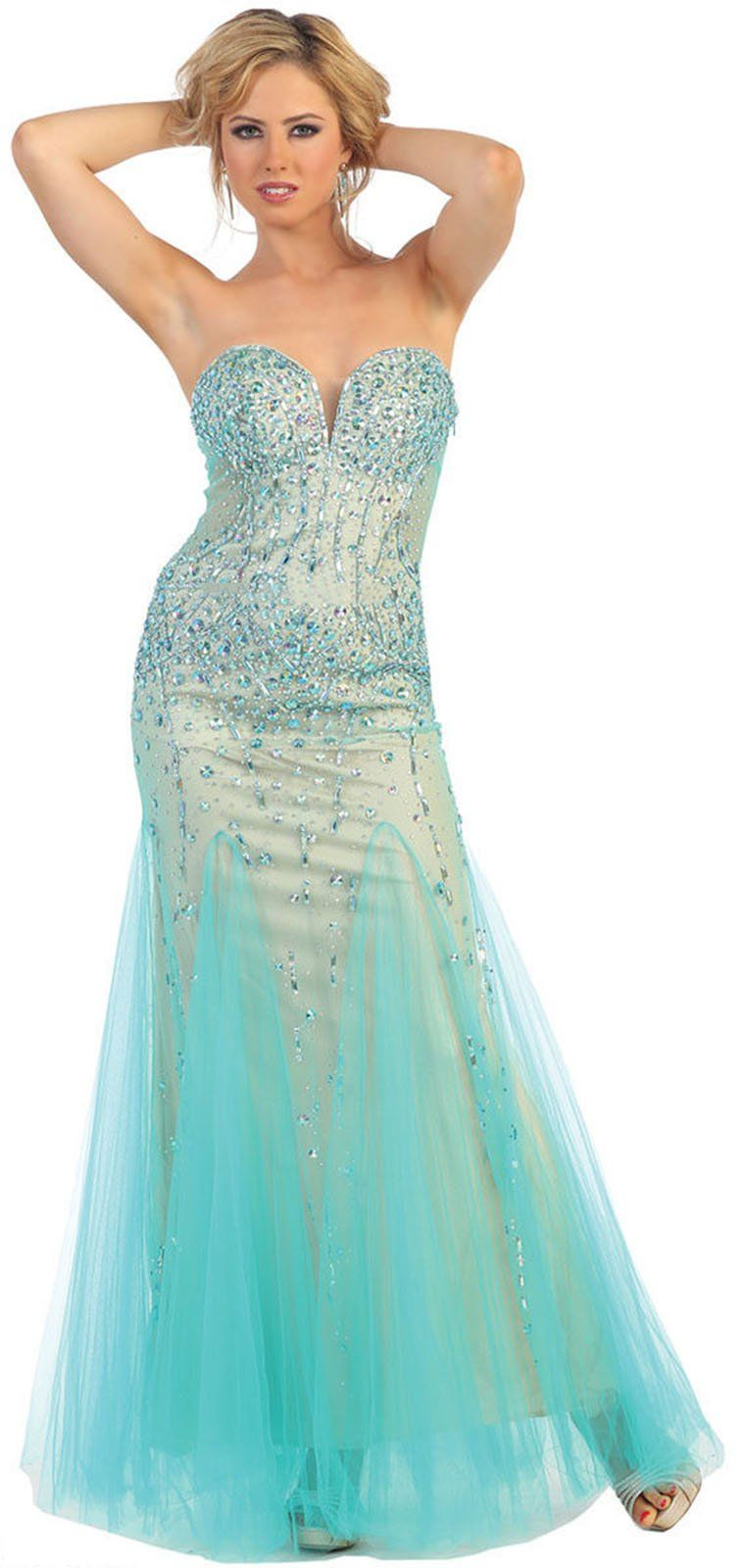 Royal Queen RQ7190 Sweetheart Strapless Prom Dress (12, Black/Nude ...