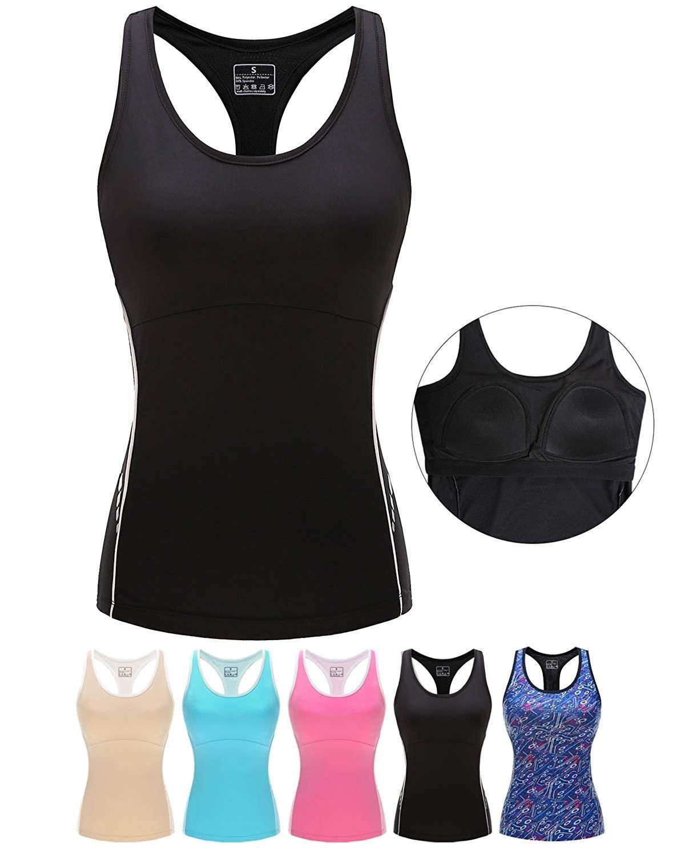 Women Stretch Tank Tops Built In Shelf Bra Lightweight Yoga Camisole Vest For Workout Gym Fitness Black Workout Tank Tops Camisole Vest Athletic Tank Tops