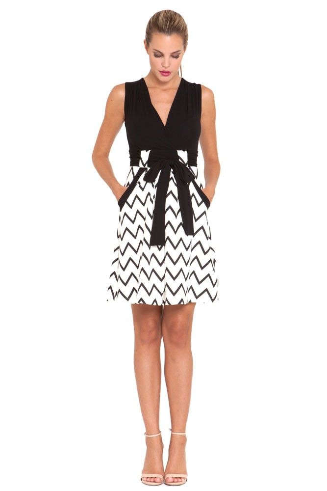 63896d311a3a8 Cece Maternity Dress in Ivory Black Chevron Print by Olian with free  shipping