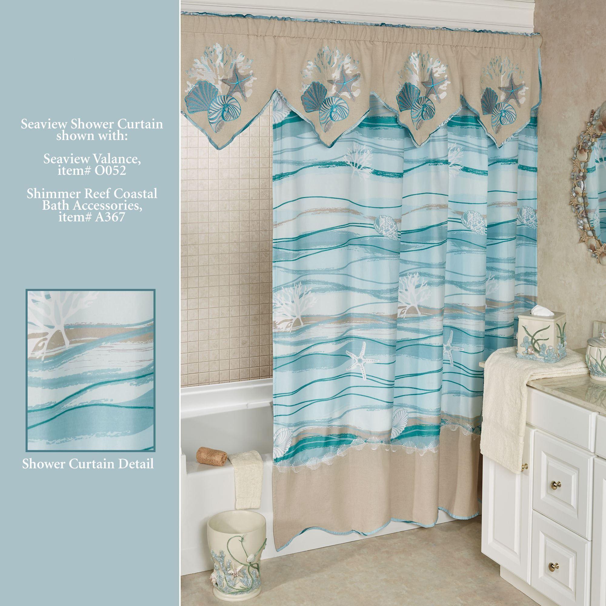 Seaview Wave Design Coastal Shower Curtain In 2020 Diy Bathroom