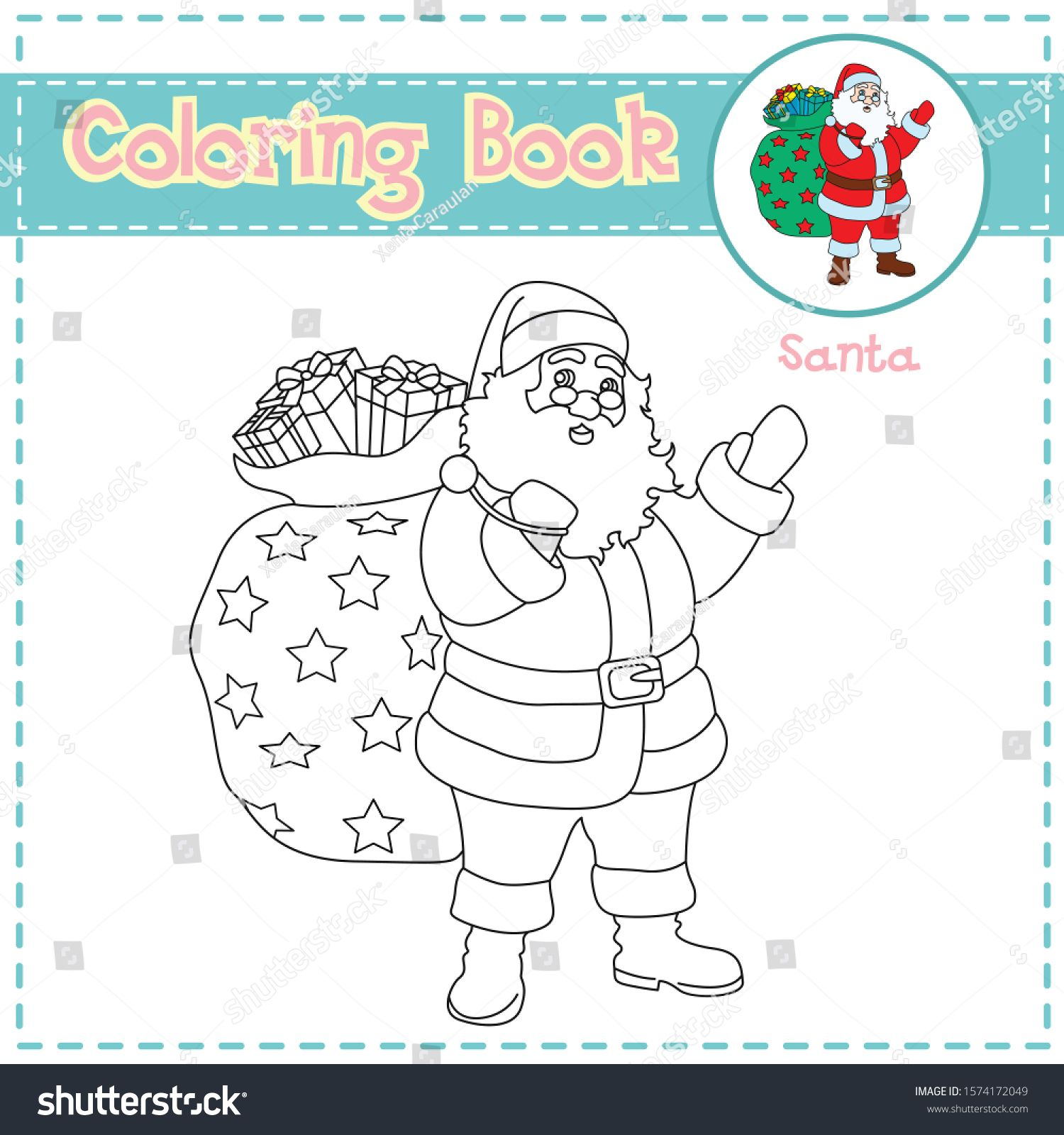 Christmas Coloring Page With Santa For Preschool Kids