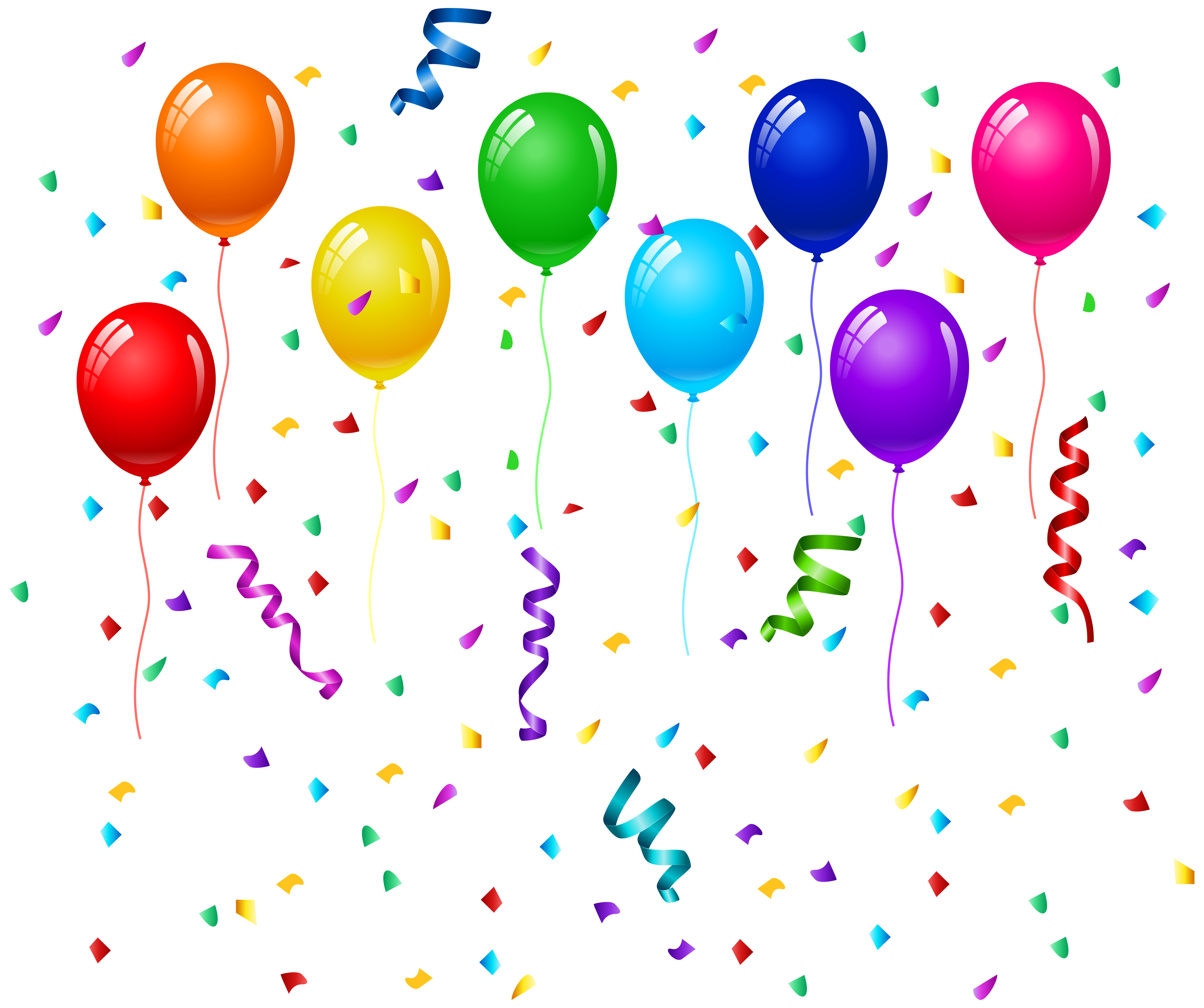 Confetti and Balloons PNG Clip Art Image Art images