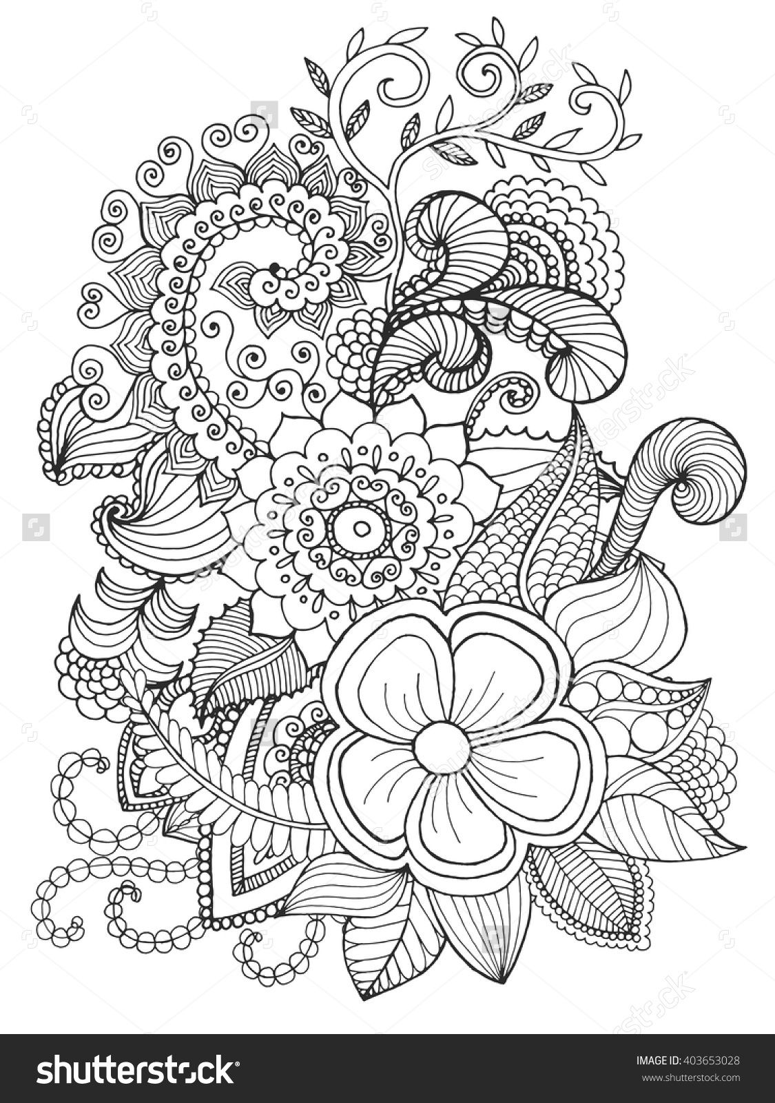 Fantasy Flowers Coloring Page Hand Drawn Doodle Floral Patterned