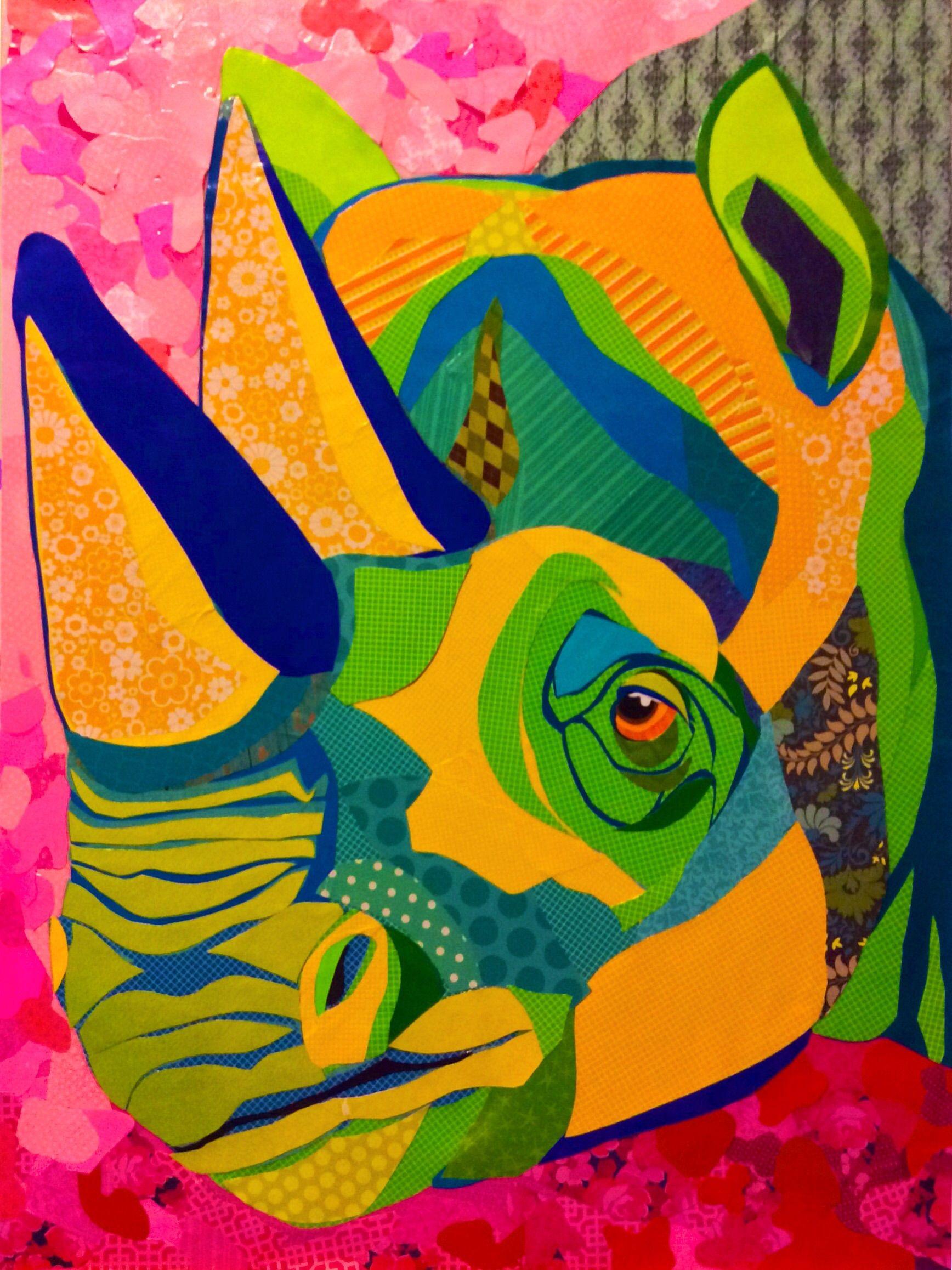 Scrapbook paper collage - Cut Paper Collage Art 24 X32 On Board Razzmatazz Rhino By