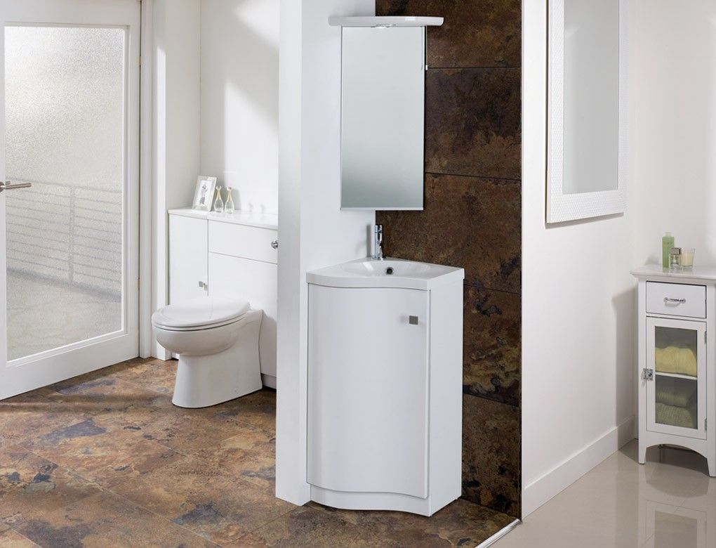unique white wooden small corner cabinet for bathroom with mirror of ...