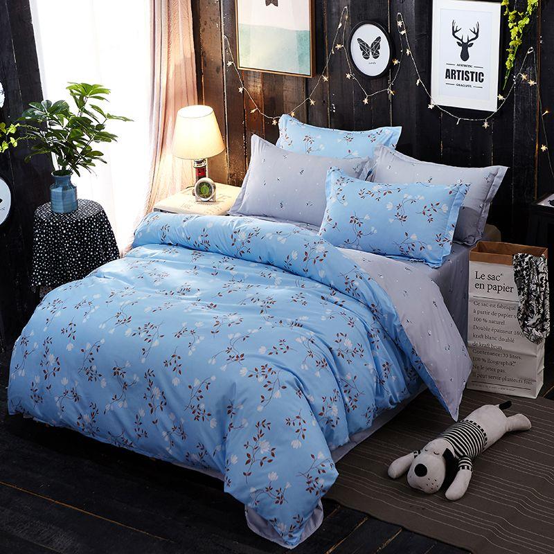 Fresh Blue Floral 4pcs Twin Full Queen King Size Bed Linen Quilt Duvet Doona Cover Set Sheet Pillowca King Size Bed Linen King Size Bedding Sets Bed Sheet Sets