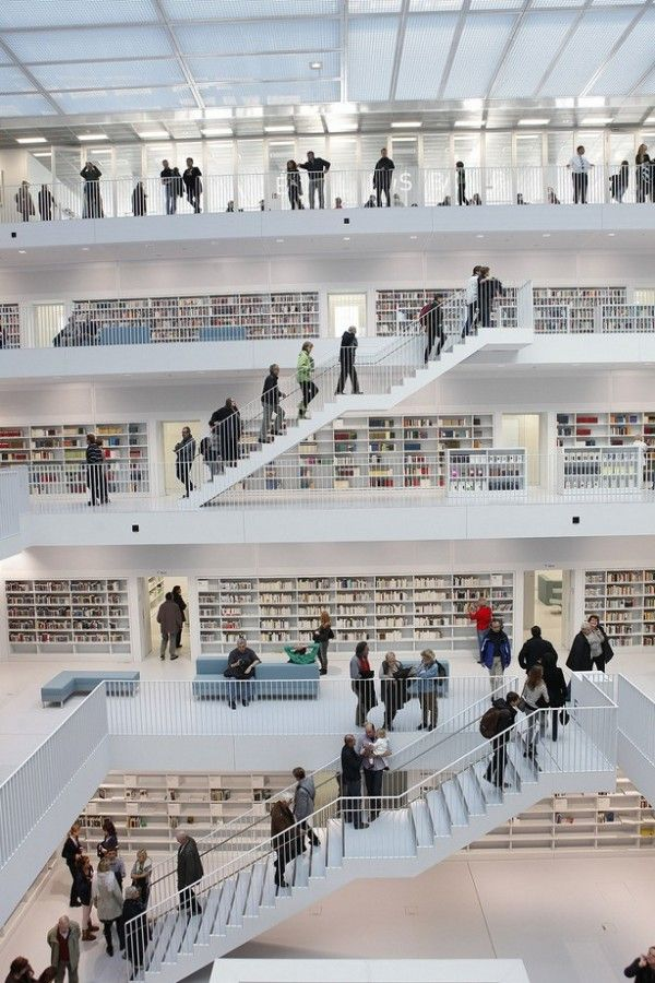 Inside view of the new stuttgart city library germany opened late 2011