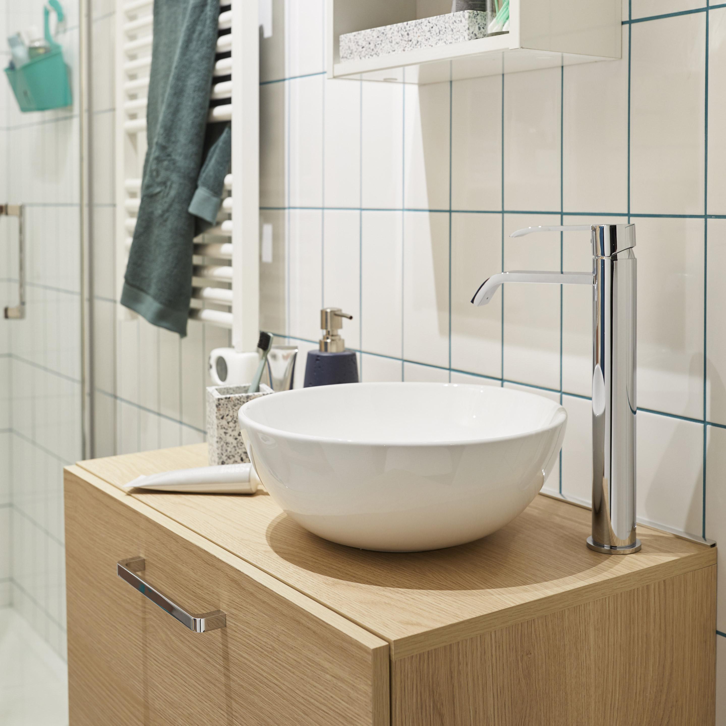 Meuble Simple Vasque A Poser L 70 X H 37 X P 40 Cm Effet Chene Naturel Easy Vasque A Poser Meuble Simple Et Meuble Vasque