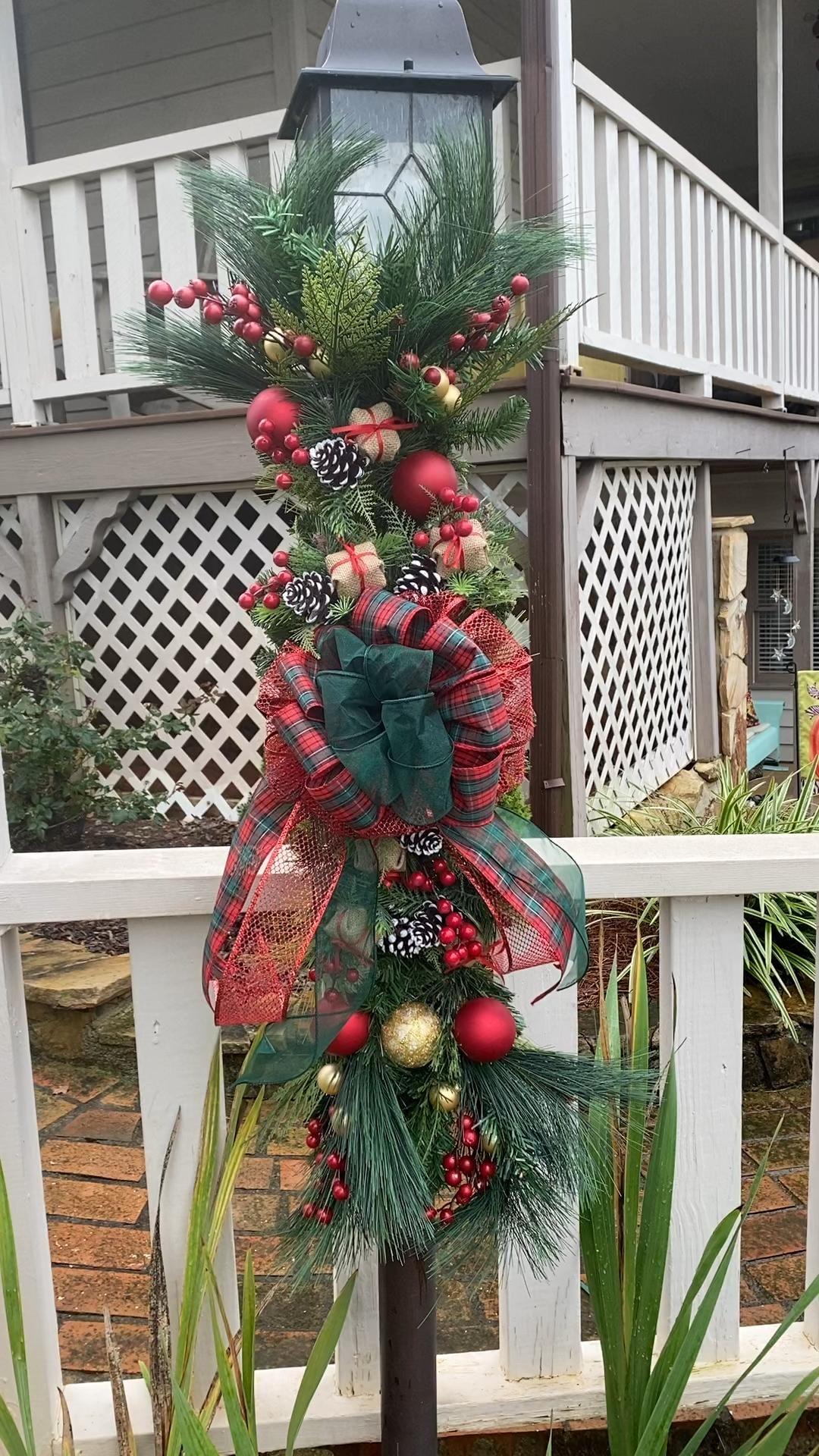 Lamp Post Swag Christmas Lamp Post Decor Outdoor Christmas | Etsy -   18 christmas decor outdoor fence ideas