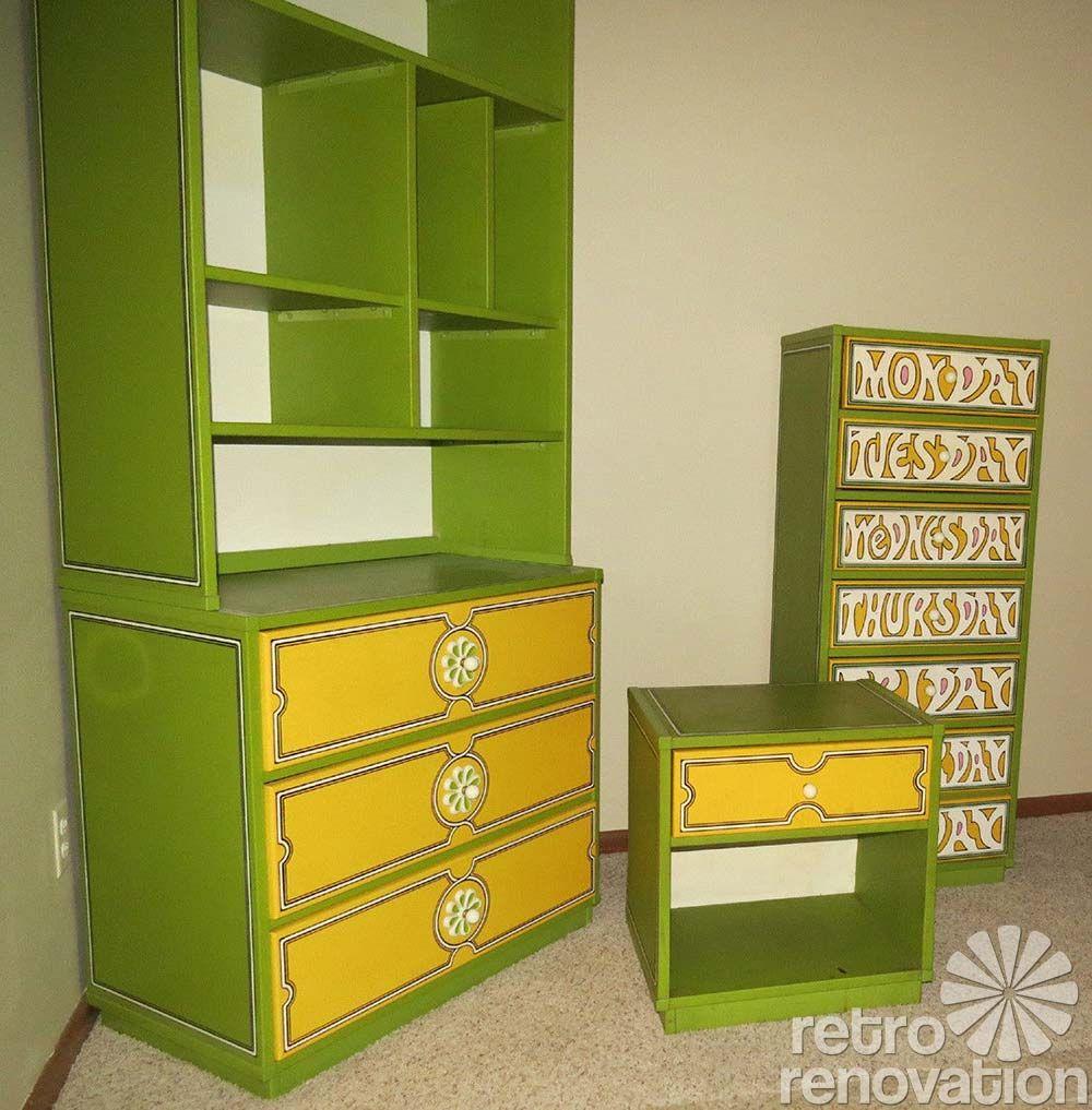 Flower power 1960s Drexel Plus One bedroom set Retro