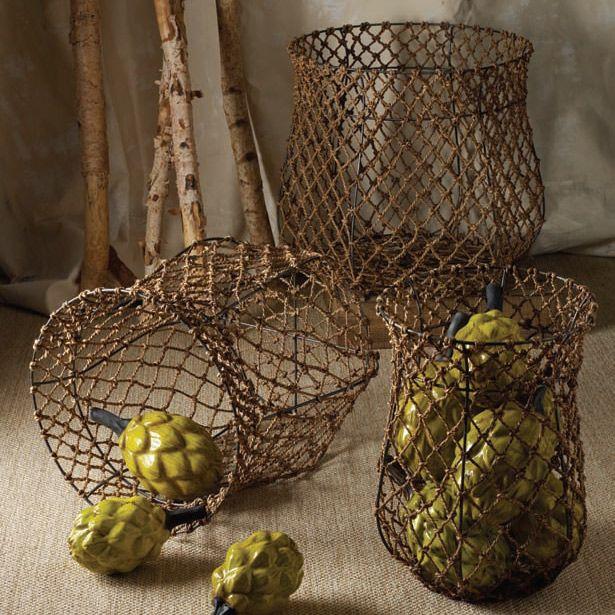 Basket Weaving Supplies Toronto : Lazy susan fisherman rope basket set zincdoor a c e s