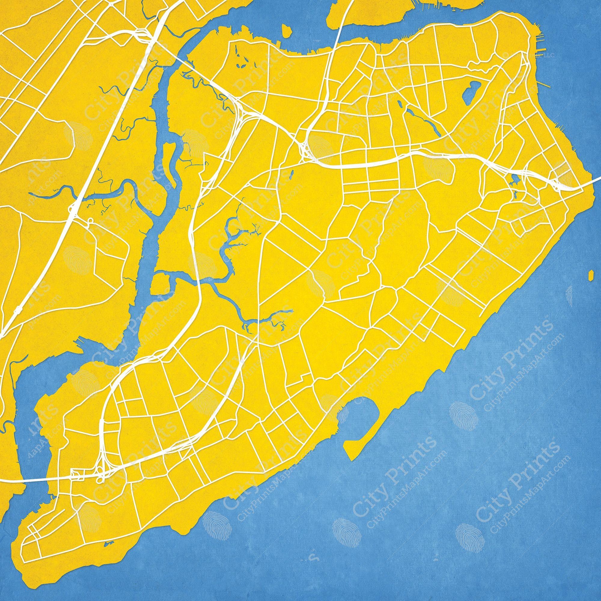 Staten Island, New York Map Art | Staten island, City maps and City