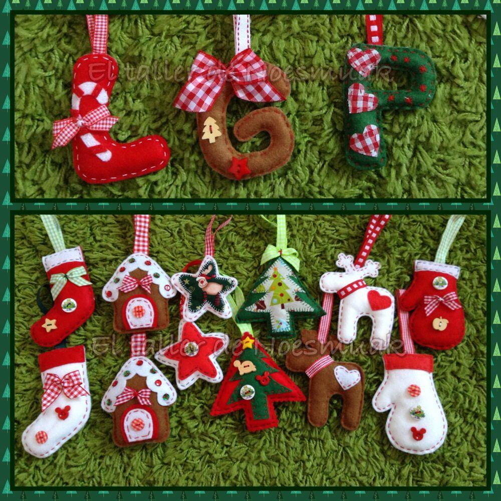 Adornos navidad fieltro y letras navideas para el rbol