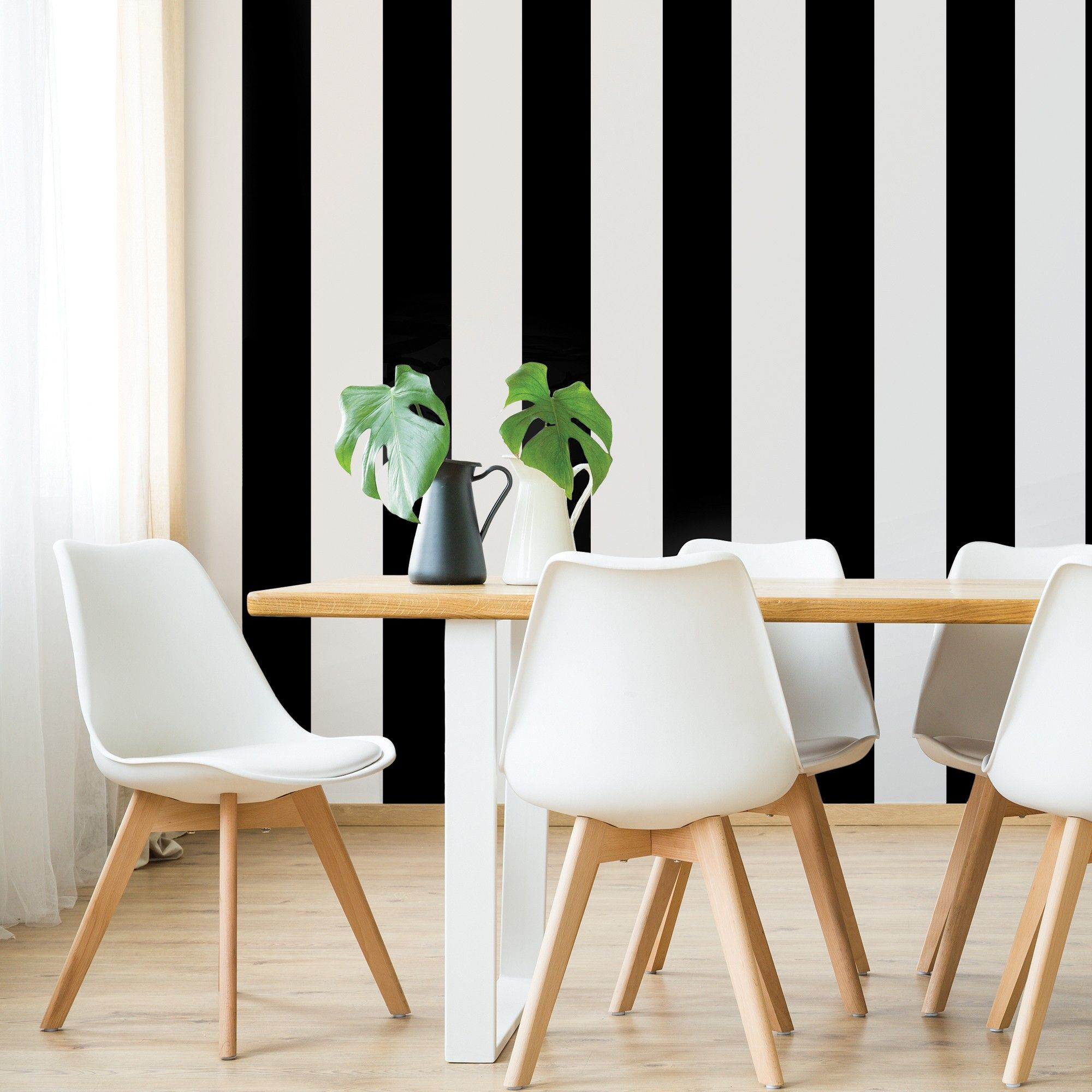 Devine Color Mini Stripe Peel & Stick Wallpaper Black 2ct
