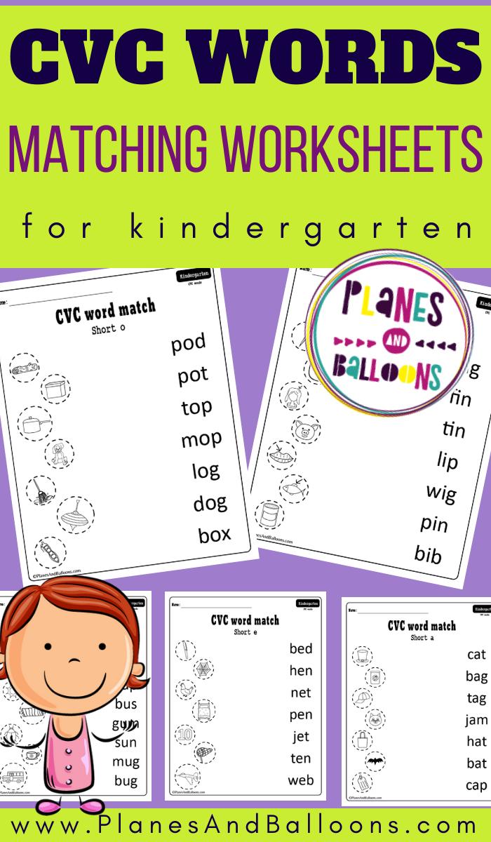 Cvc Word Match For Kindergarten Cvc Words Cvc Words Worksheets Kindergarten Word Families [ 1200 x 700 Pixel ]
