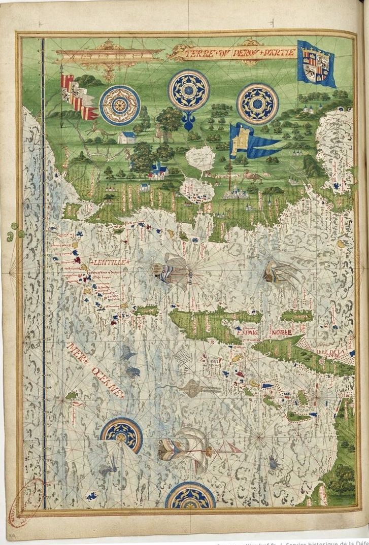 Universal Cosmography from Guillaume Le Testu - 1555 - The Peru ...