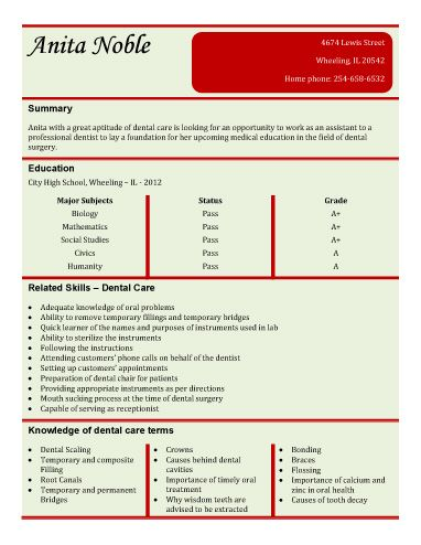 Entry Level Dental Assistant Resume Template | Free Resume