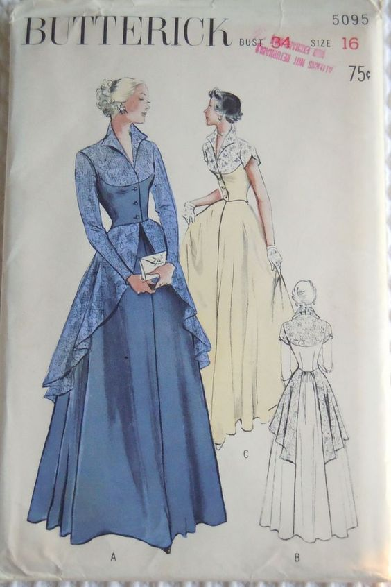 Vintage 1950\'s-Butterick Pattern #5095-Dance Dress-Evening Gown ...