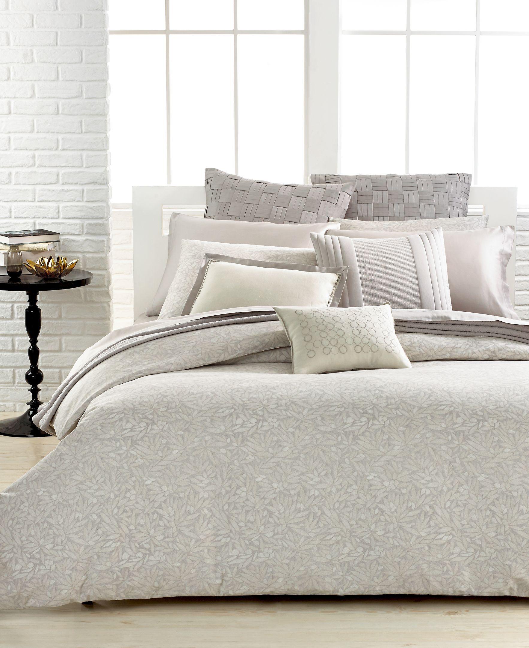 Vera Wang Bamboo Leaves 20 Square Decorative Pillow King Duvet