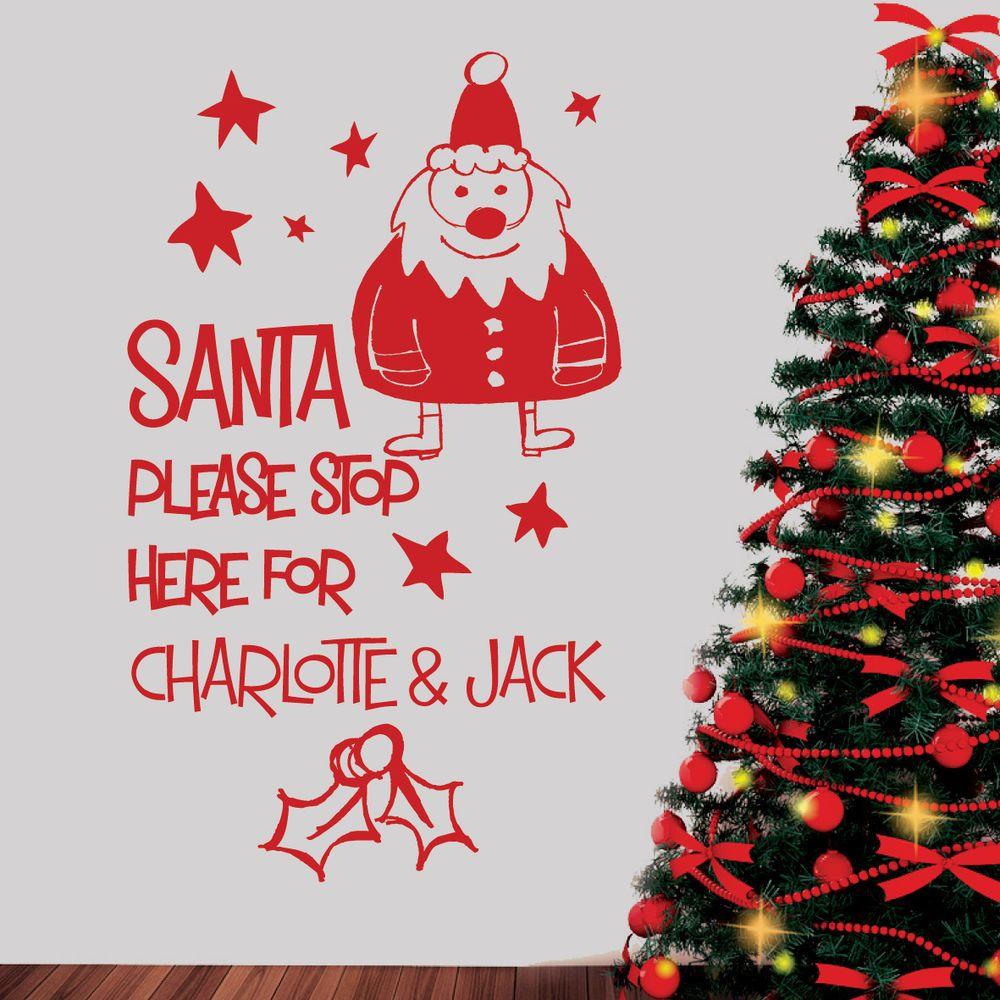 Santa Star Christmas Decal   Holiday Vinyl Decal   Wall Lettering ...