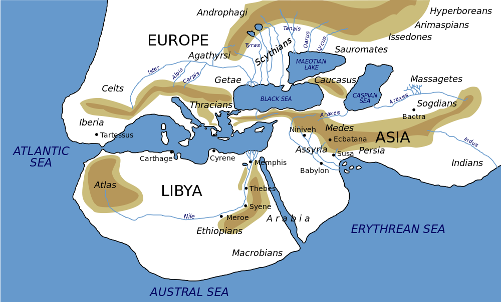 Herodotus world map how he saw the world from wikipedia worlds herodotus world map how he saw the world from wikipedia gumiabroncs Choice Image