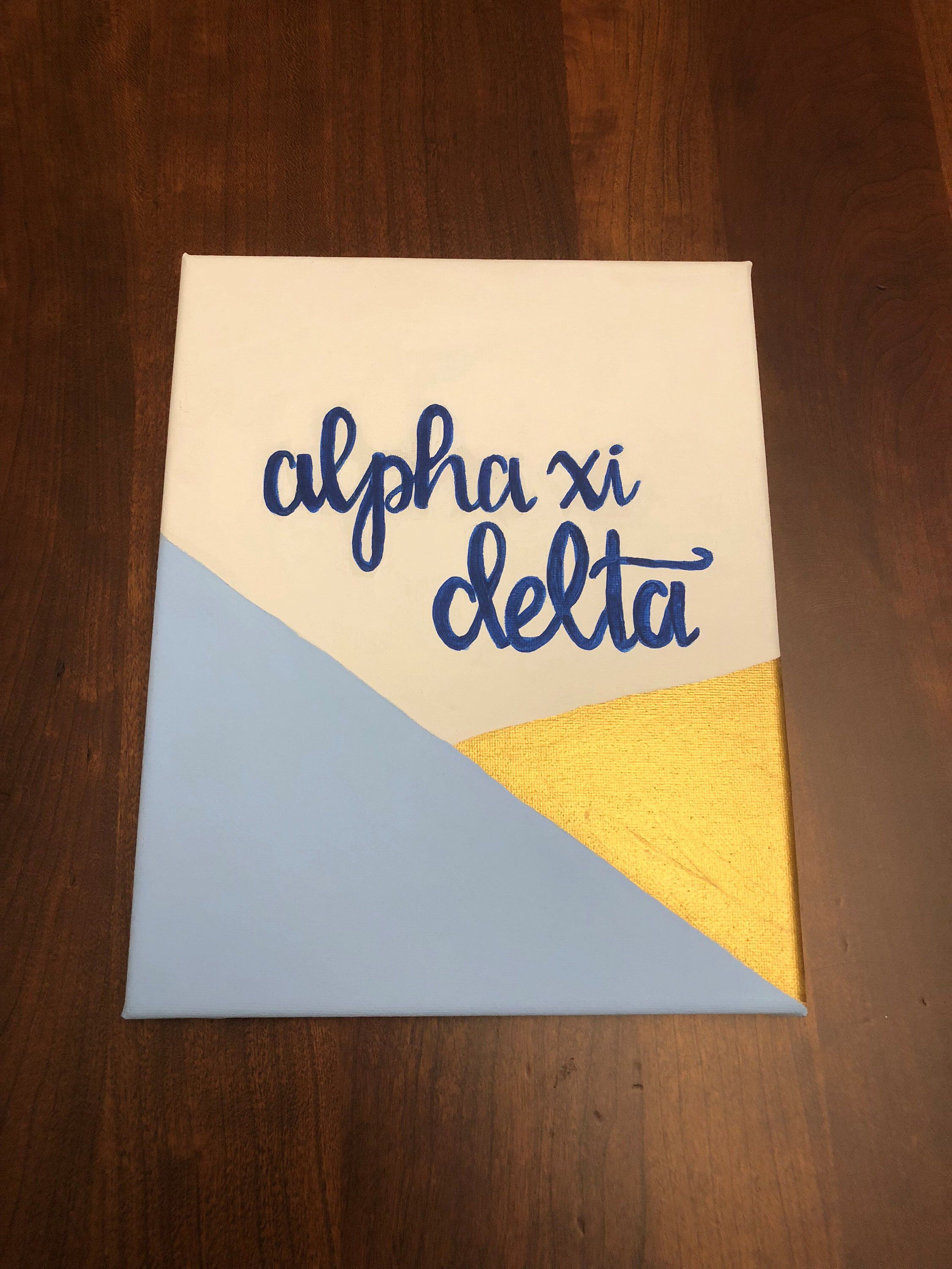 Simple Blue and Gold Geometric Sorority Canvas #biglittlecanvas