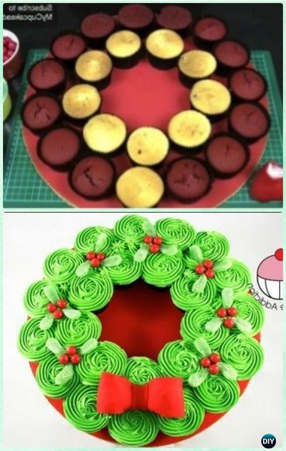 DIY Christmas Wreath Pull Apart Cupcake Cake Instruction Tutorial -DIY Pull Apart Christmas #Cupcake Cake Design Ideas
