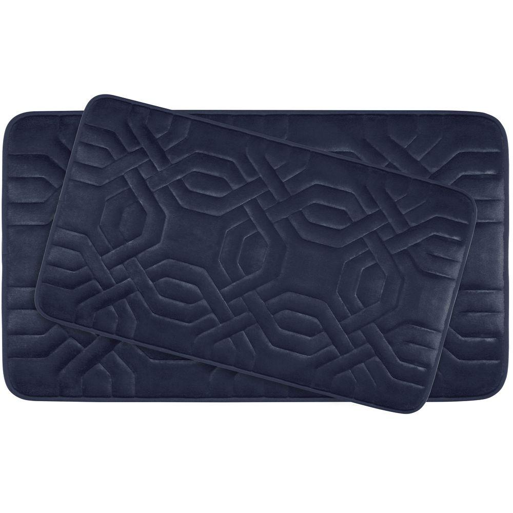 Bouncecomfort Chain Ring Indigo Memory Foam 2 Piece Bath Mat Set