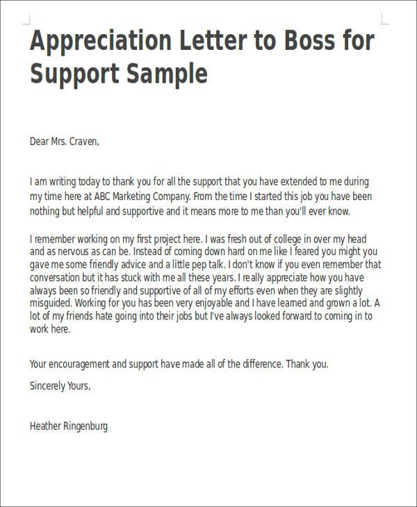 Appreciation Letter Boss For Support Sample Thank You Letters