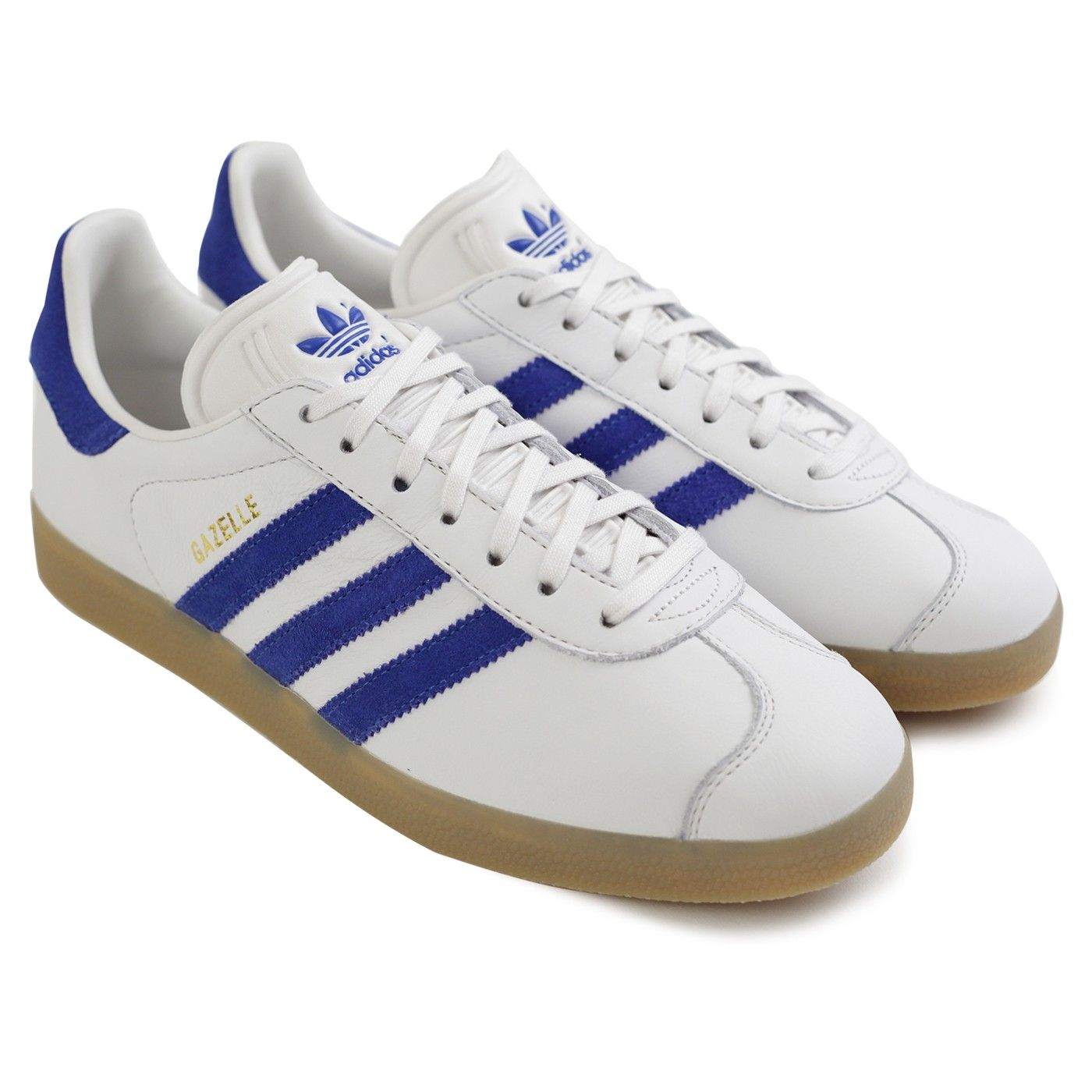 Gazelle Shoes in Vintage White / Bold Blue / Gum by Adidas Originals