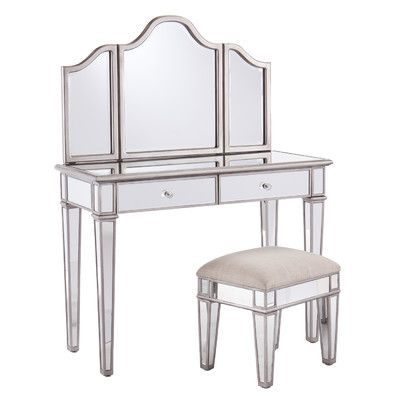 Tremendous House Of Hampton 2 Piece Kaila Mirrored Vanity Stool Set Ncnpc Chair Design For Home Ncnpcorg